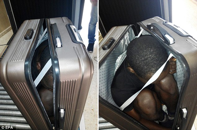 A 19-year-old migrant, from Gabon, was smuggled across the Morocco-Spain border in a case