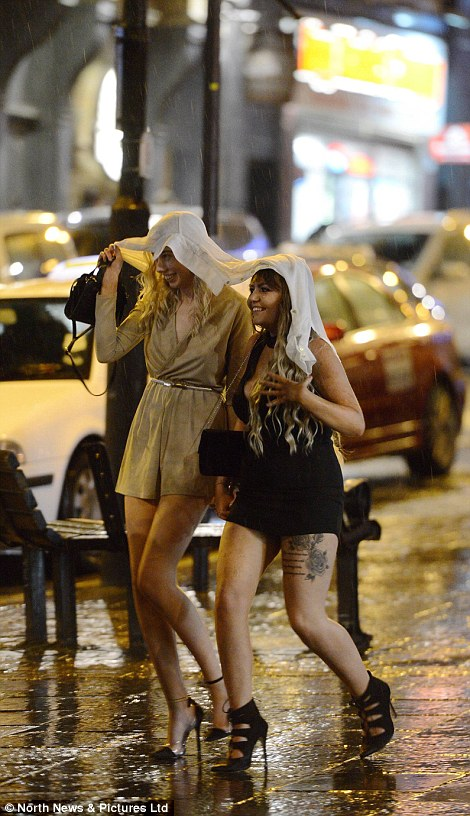 Two girls in Newcastle brave the rain