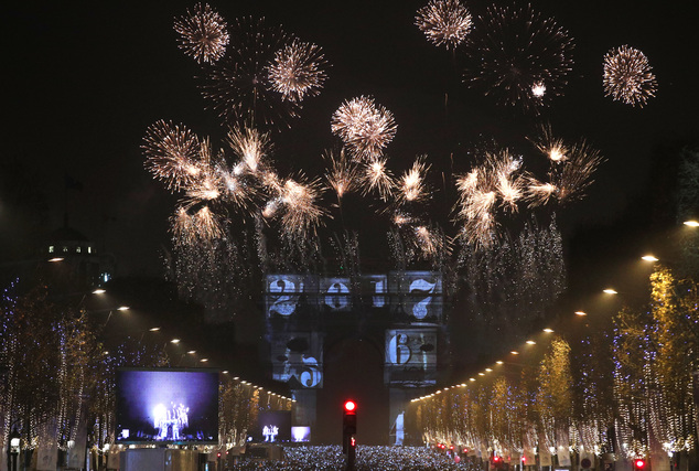 The 2017 appears during a firework over the Arc de Triomphe as part of the New Year celebrations on the Champs Elysees, in Paris, France, Sunday, Jan.1, 2017...