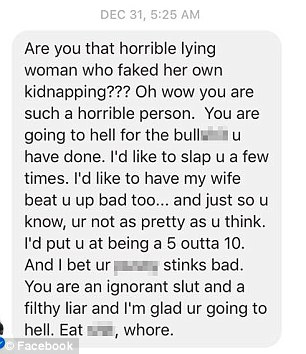 A stranger sent this vile message toDenise Huskins. She wrote a Facebook post about the cruelty she has received online and Aaron Quinn also wrote about the online absue