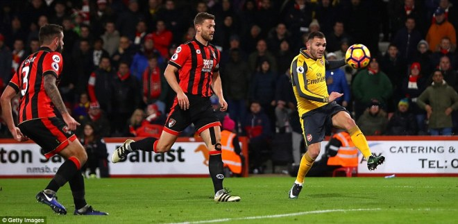 Lucas Perez pulled another back for Arsenal in the 75th minute with this volley to make the scoreline 3-2