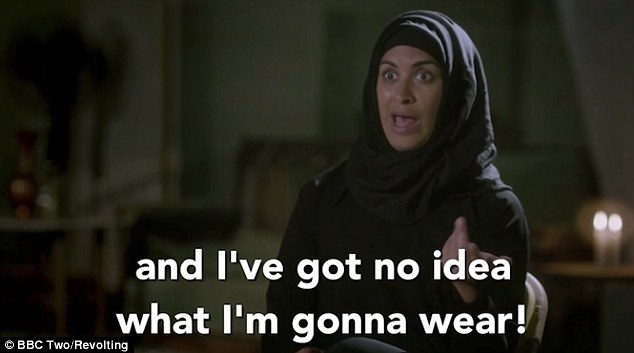Afsana then adds 'and I've got nothing to wear' to the beheading in a satire of the way the wealthy women of the American show talk about fashion