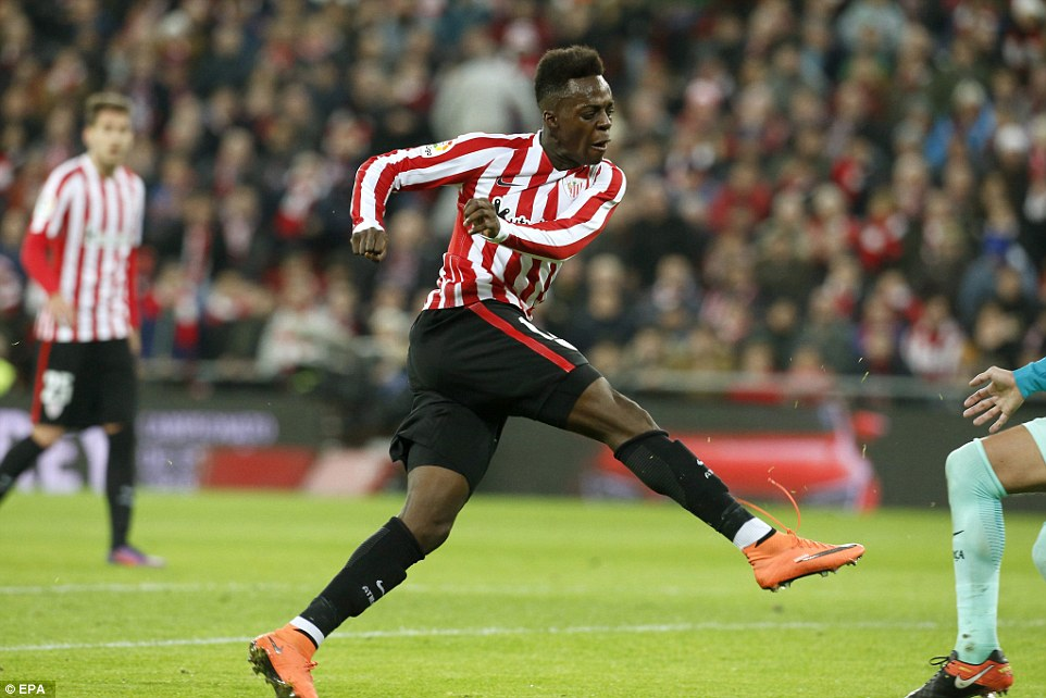 Inaki Williams lets fly to as he doubles the home side's lead with a sweet right-footed effort against the current cup holders