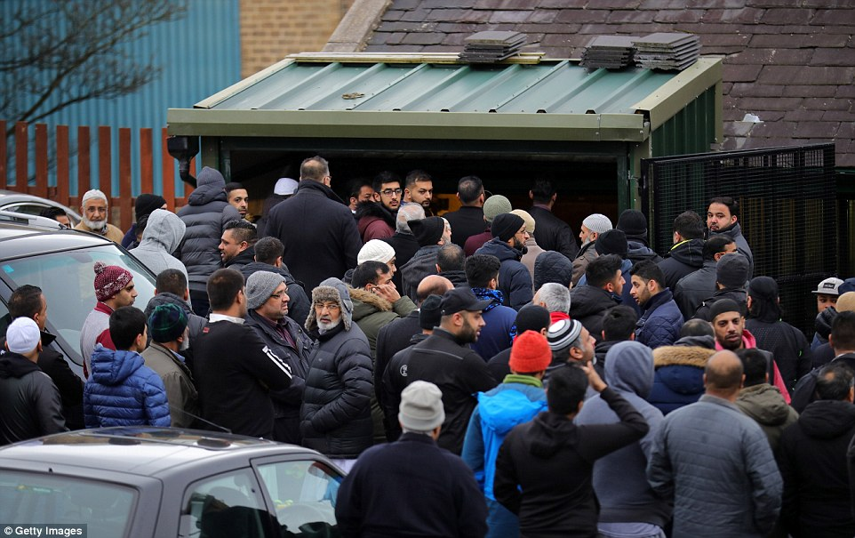 Huge crowds followed the coffin and Yassar's family into the mosque for his funeral