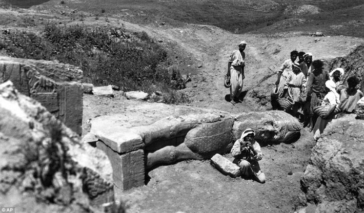 Another viewpoint of the Iamassu sculpture, captured by Christie in 1949, shows the figure which guarded the royal court from evil at the ancient site of Nimrud