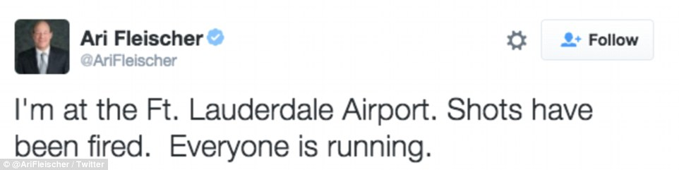 Former White House Press Secretary Ari Fleischer was in the airport at the time of the shooting and tweeted about what was happening