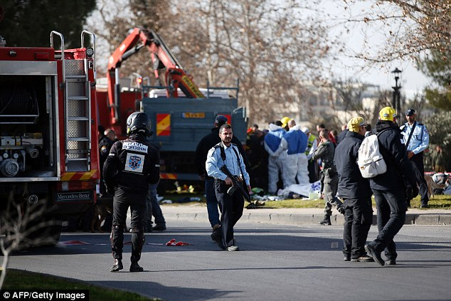 There was a heavy security presence as rescuers recovered the bodies of victims