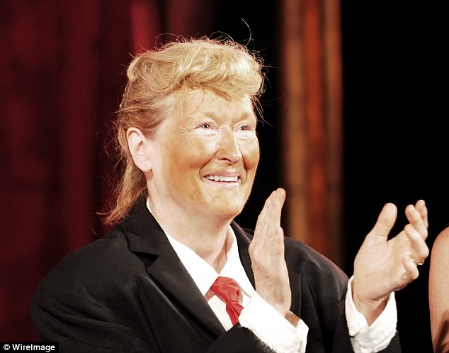 Streep dressed up as Donald Trump (above) at the annual Shakespeare in the Park gala in New York City this past June