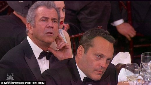 Mel Gibson and Vince Vaughn did not have the look of love on their faces during Meryl's speech