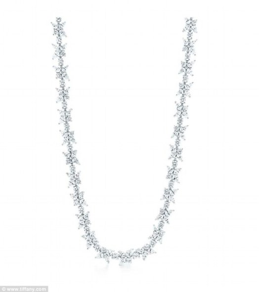 She loves to sparkle: The statement jewelry piece was made of diamonds and platinum and is a Tiffany Victoria design
