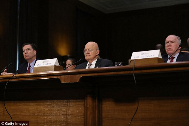 President-elect Donald Trump conducted the sting after growing frustrated that word of his classified briefings were leaking. He is entitled to get a top-level security briefing. It is usually conducted by senior intelligence officers. Pictured are FBI Director James Comey, Director of National Intelligence James Clapper and Central Intelligence Agency Director John Brennan (L-R) testify before the Senate (Select) Intelligence Committee