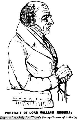 Courvosier fue declarado culpable de matar a su maestro, Lord William Russell, en la foto en un dibujo animado de la Penny Cleaveis Gaceta partir de mayo de 1840, y fue atrapado cuando le dio un hotel Landlady un paquete que contenía 'cuchillos y tenedores de plata distintivos' del Señor