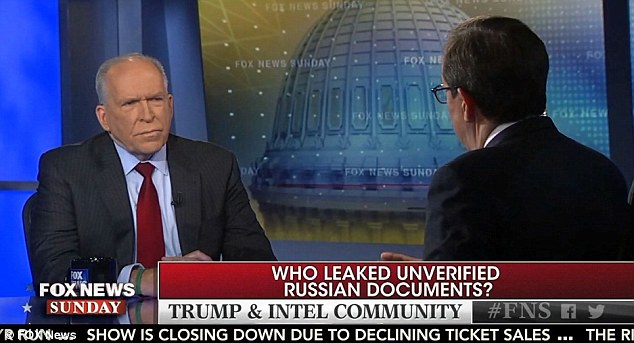 Brennan had earlier ripped into Trump on Fox News warning him to watch what he says and suggesting the president-elect doesn't understand the threats posed by Russia