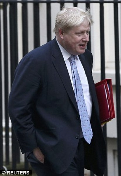 Mrs May briefed the Cabinet, including Foreign Secretary Boris Johnson. this morning