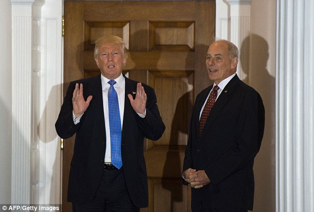 A watchdog group said the allegations are 'disturbing' and has urged Trump (left) and his Homeland Security Secretary John Kelly (right) to do a better job at vetting their future employees
