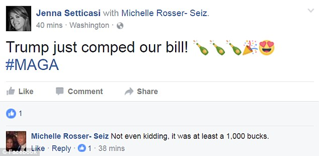 Jenna Setticasi posted this on Facebook, claiming the Donald comped the entire bill for her dinner