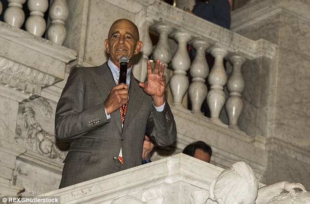 Tom Barrack speaks during the Cabinet Dinner at the Library of Congress on Wednesday night in DC
