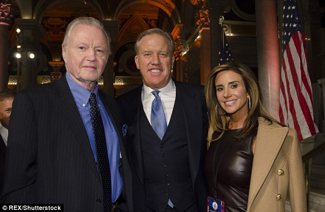 Jon Voight, John Elway and Paige Green are seen together at Trump's donor dinner on Wednesday