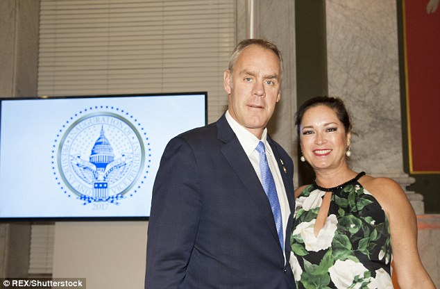 Secretary of Interior nominee Ryan Zinke and wife Lolita Hand attend the Cabinet Dinner