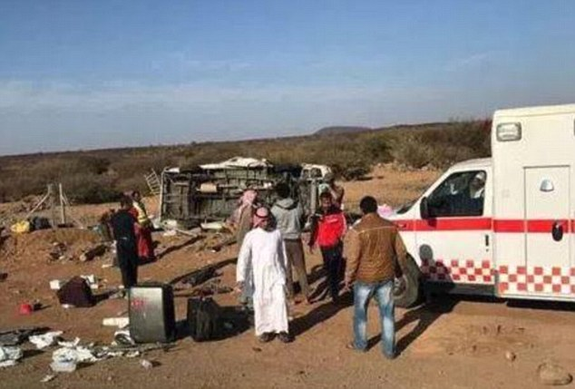 Two British children were also injured in the crash. Pictures on a Saudi website showed the minibus on its side and an ambulance in attendance