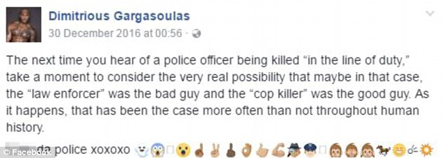 On December 30 he urged his friends to consider that when a police officer was killed on duty, maybe the 'cop killer was the good guy'
