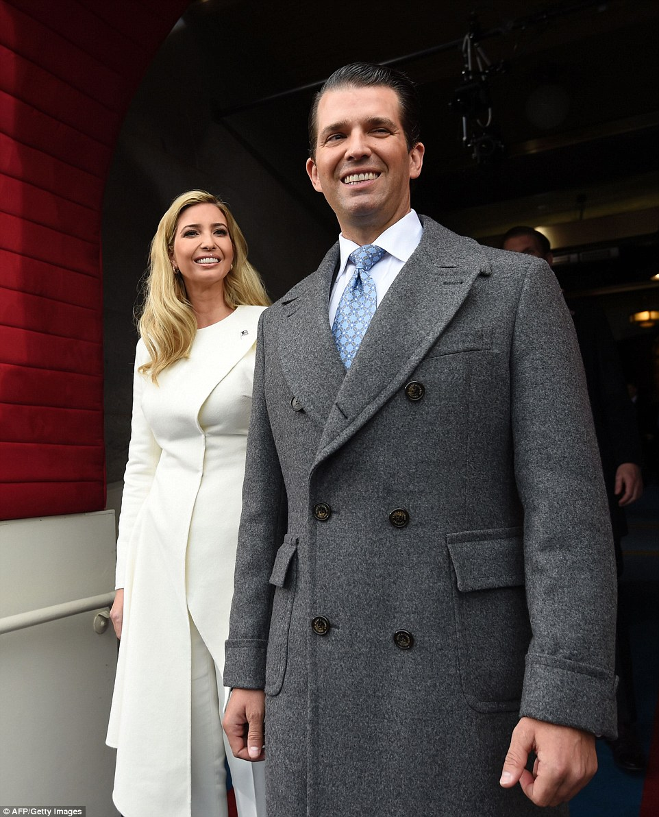 Donald Trump, Jr., and Ivanka Trump arrive for the Presidential Inauguration of their father Donald Trump at the US Capitol in Washington, DC, January 20, 2017