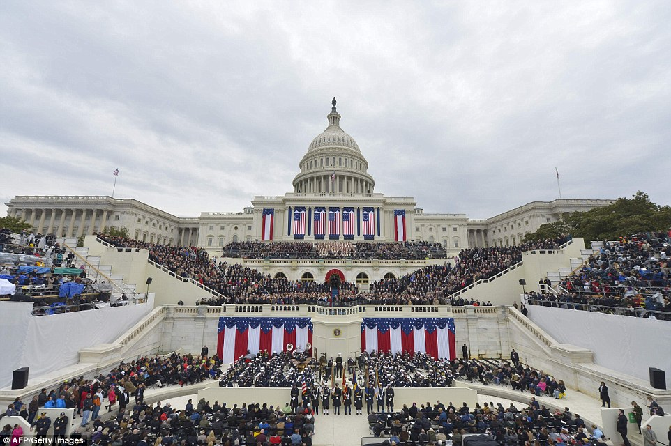 View of the West Front as President-elect Donald Trump arrives on the platform of the US Capitol in Washington, DC, on January 20, 2017, during his swearing-in ceremony