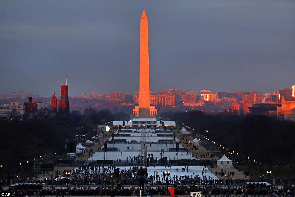 Washington, DC was bathed in red light this morning, hours before President-elect Donald Trump was set to be sworn in as the 45th president of the United States