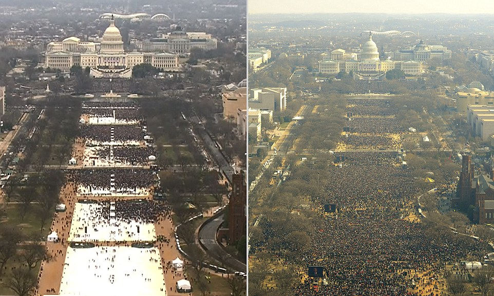 Trump's inauguration attendance was not as expected and the National Mall sat half-empty (left) compared to Barack Obama's 2009 inauguration turn out (right), which saw an estimated 1.8million people on the below freezing day