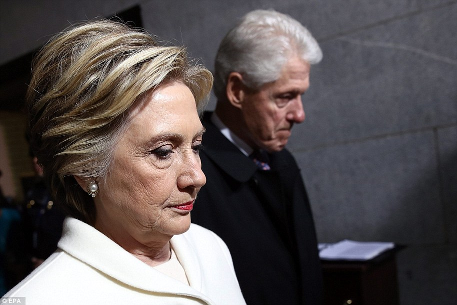 Former Democratic presidential nominee Hillary Clinton (L) and former President Bill Clinton (R) arrive on the West Front of the US Capitol for the inauguration ceremony of Donald J. Trump taking the oath of office to be sworn in as the 45th President of the United States in Washington, DC, USA, 20 January 2017. Trump won the 08 November 2016 election to become the next US President