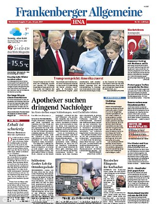 A photo of Trump being sworn in with Melania by his side also circulated on the front page of multiple editions of regional newspaperHessische/Niedersächsische Allgemeine