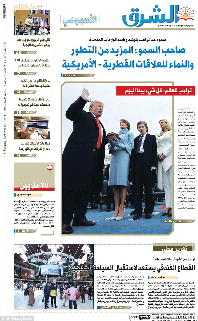 Qatar's pro-government daily Al-Sharq ran a picture of the president being sworn in, with his wife Melania, his son Barron, and his daughter Ivanka also featured by his side