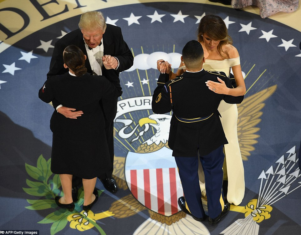 Image result for trump dances with military