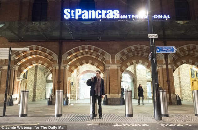 The ability to travel from Brussels to the UK without passport checks has prompted a furious reaction from politicians who claim the UK's national security is at risk. Pictured is Mr Keogh outside St Pancras