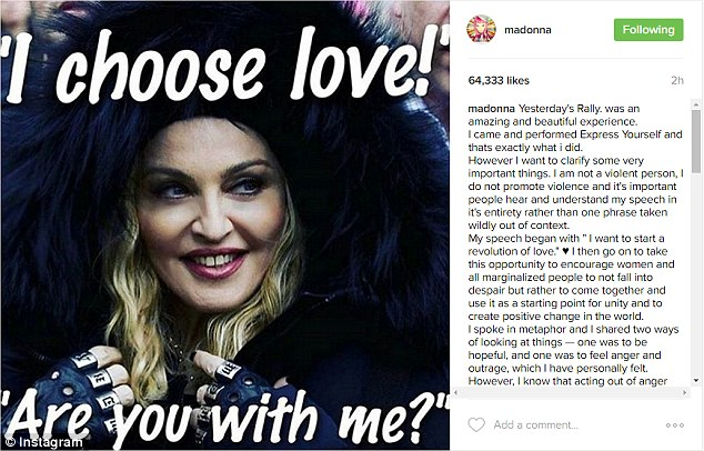 She posted a photo of herself in the same furry black coat she wore to the march, overlain with white lettering that stated: 'I choose love! Are you with me?'