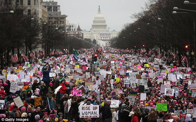 Millions of women around the world proudly marching to protest Trump. They wore pink pussy hats, and the mood was one of celebration; a joyous gathering of the female gender