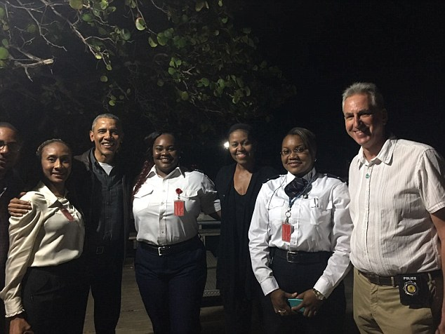 Barack and Michelle Obama arrived at Terrence B Lettsome International Airport in the British Virgin Islands on Monday night after flying in on Sir Richard Branson's jet
