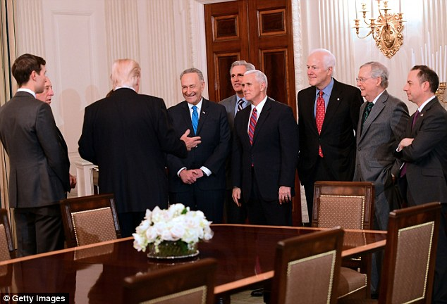 Media was invited inside to photograph the group as they took their seats. Above from L-R: The president's son-in-law Jared Kushner, Steny Hoyer, Chuch Schumer, Kevin McCarthy, Mike Pence, John Cornyn, Mitch McConnell and White House Chief of Staff Reince Priebus