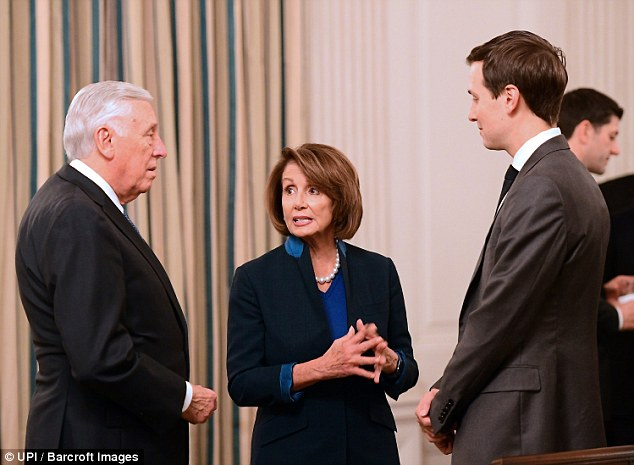 Jared Kushner, the president's son-in-law (right) speaks with Steny Hoyer and Nancy Pelosi