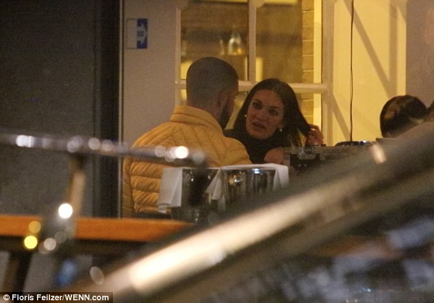 Catching up: The Hotline Bling singer, 30, seemed in good spirits as he chatted away with his Rosee Divine and they tucked into their meal