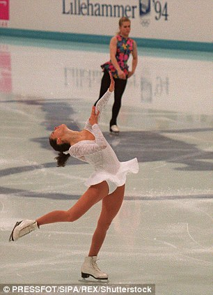 Disgrace: It was revealed just before the Olympics in 1994 that Harding may have had something to do with an attack on Nancy Kerrigan (above) that almost left her unable to compete