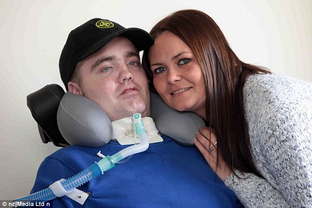 Tony Cowan (pictured with his wife Karen) lost control of his car in 2014 and suffered a serious neck injury - so severe medics described it as almost 'unsurvivable'