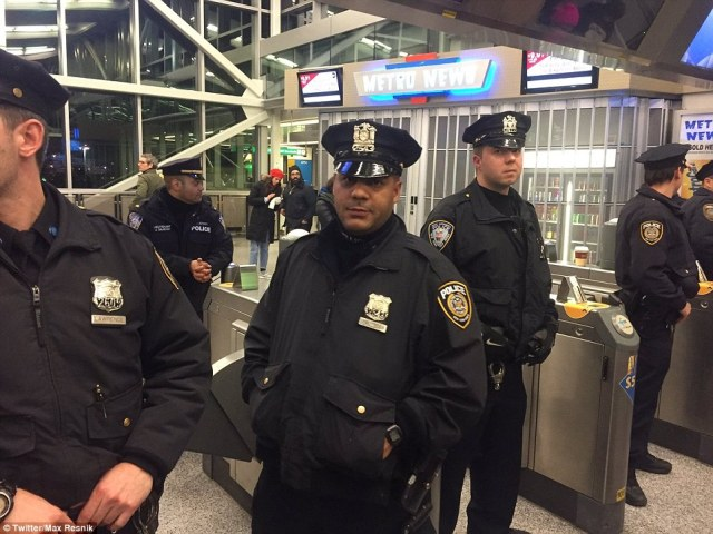 Police at one point blocked protesters from accessing the Air Train at JFK but Governor Andrew Cuomo later ordered authorities to let them through