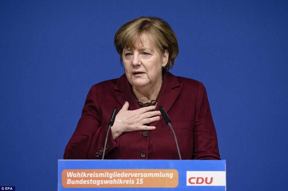 A spokesman for Chancellor Angela Merkel said the German leader believes the Trump administration's travel ban on people from some Muslim-majority countries is wrong. Merkel is pictured on January 28
