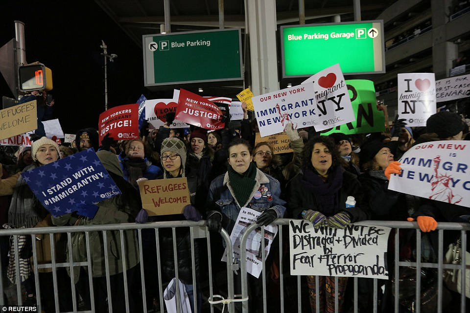 People protested across the country on Saturday, including in New York where a massive demonstration carried on through Saturday evening as 10 out of 12 refugees remained held at JFK airport