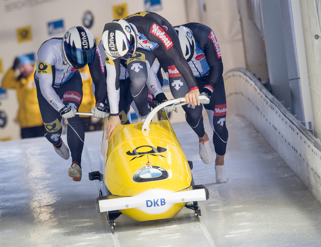 The German bobsleigh team with Johannes Lochner, Matthias Kagerhuber, Joshua Bluhm and Christian Rasp start their first qualifying race during the four-men b...