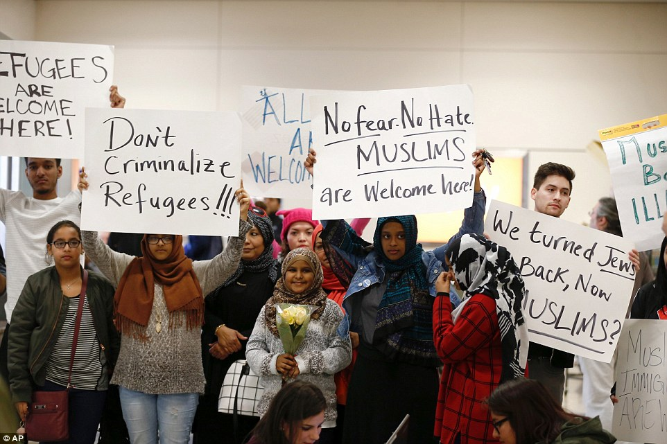Protesters also demonstrated atDallas Forth Worth Airport Saturday afternoon as the immigration ban created chaos