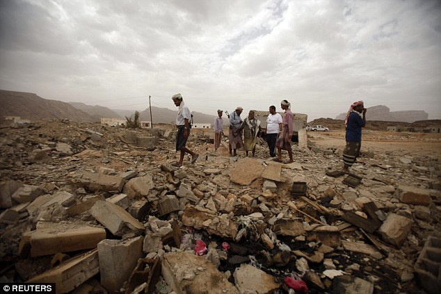 Pictured: The rubble of a building destroyed by a US drone air strike that targeted suspected al Qaeda militants. The strike killed Abdulrahman al-Awlaki, son of Anwar and brother of Nora. National security experts believe that the death of the girl will be used as a part of al Qaeda propaganda methods