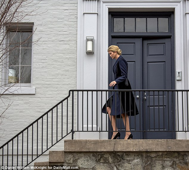Ivanka Trump leaves her home in Washington D.C. on Wednesday lunchtime