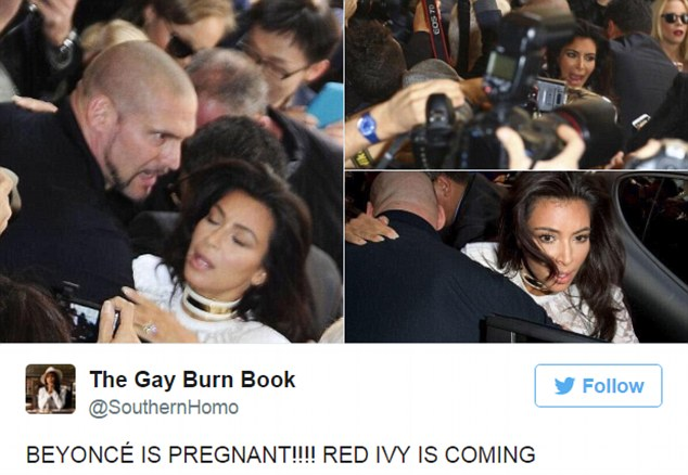 Another clever take: Kim Kardashian panicking was used in one meme along with the caption: 'Beyonce is pregnant!!! Red Ivy is coming'